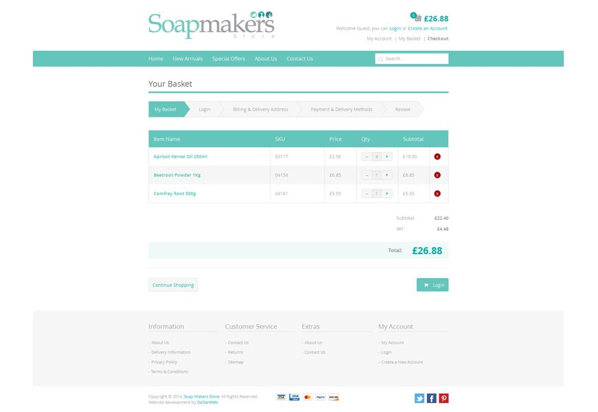 Soapmakers Store Ecommerce Basket
