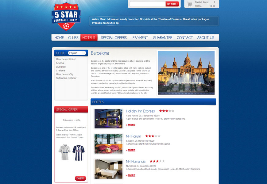 5 Star Football Tickets hotels page