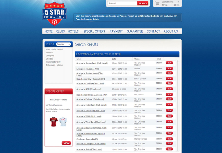 5 Star Football Tickets search page