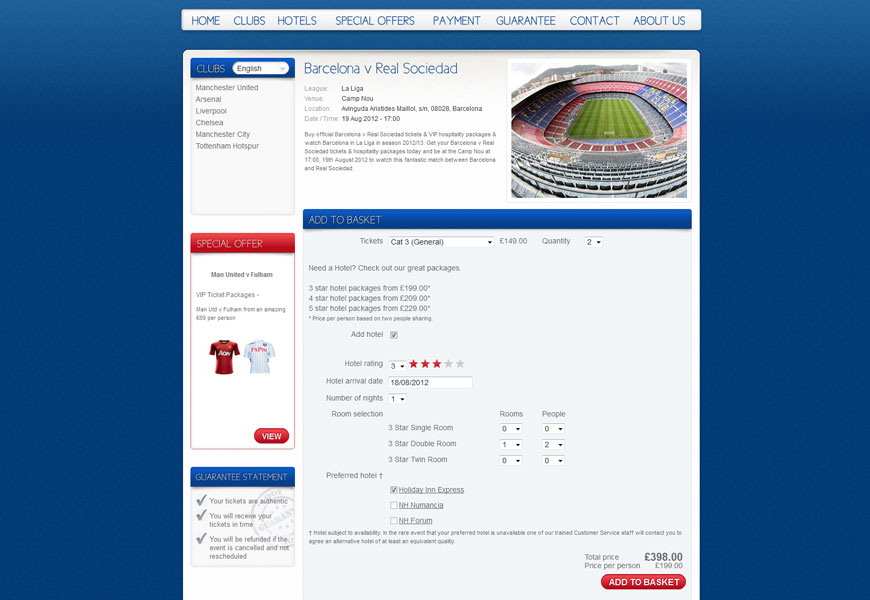 5 Star Football Tickets basket page